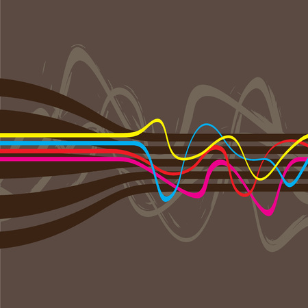 Abstract layout with wavy lines in a cmyk color scheme.  This vector image is fully editable. Vector