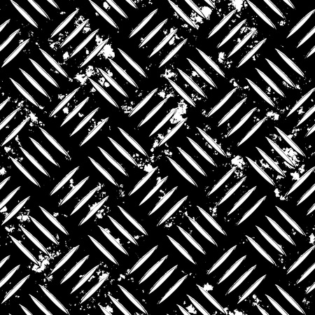 Diamond plate metal texture  for an industrial or contruction theme. Fully tileable - this tiles seamlessly as a pattern.  This vector contains a traced image. For the original full color version see my portfolio. Stock Vector - 4411200