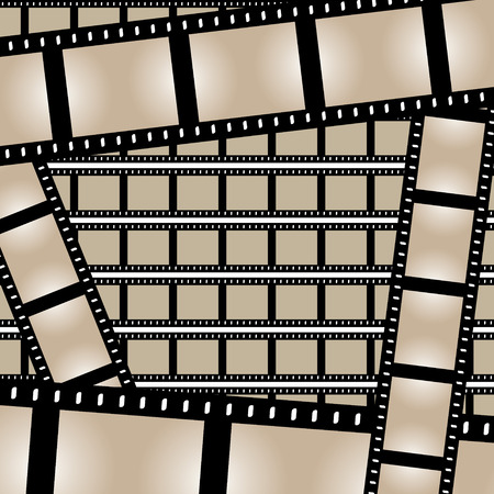 movie film: Film strips background design with lots of empty frames.  This vector image is fully customizable.
