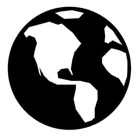 A simple black and white earth illustration. Vector
