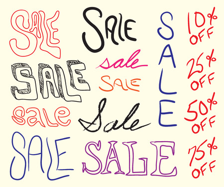 hand writing: Hand written sale sign elements for any marketing promotion.  All elements in this vector image are easily customized.