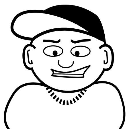 hardcore: Clip art of a little guy in a baseball cap.