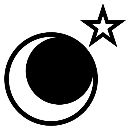 A star and moon vector drawing isolated over white.