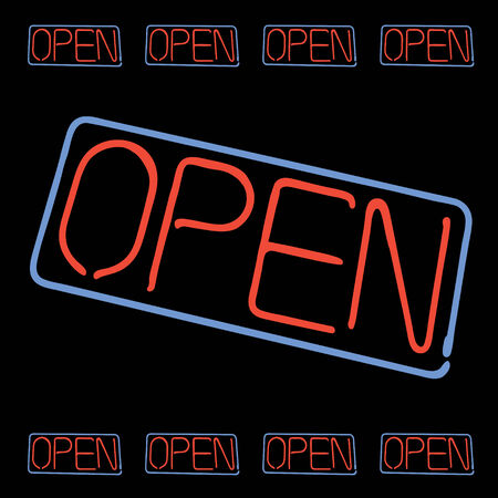 fully: Neon OPEN sign elements isolated over black. This vector image is fully editable.