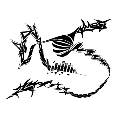 A tribal drawing isolated over white.  Original doodle art by me can be found in my portfolio.