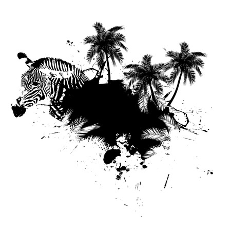 Grungy tropical palm tree graphic with a zebra and lots of splatter. Ilustração