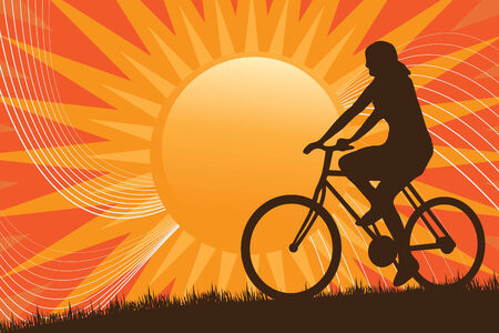 mountain biking: A silhouette of a person riding a bike in front of the sun. Illustration