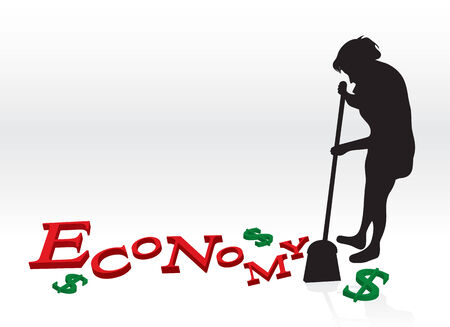 meltdown: A woman cleaning up the bad economy by sweeping up the letters and dollar signs with her broom. Illustration