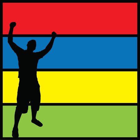 A silhouette of a man posing with his arms in the air over a colorful background. Illustration