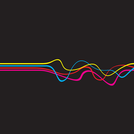 Kort lay-out met golvende lijnen in een CMYK-kleurenschema. Deze vector beeld is volledig aanpasbaar. Stock Illustratie