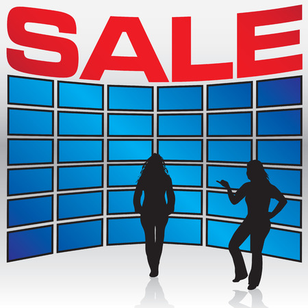 A few woman stand in front of a wall of TV sets during a store sale. Vector