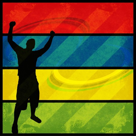 A silhouette of a man posing with his arms in the air over a colorful background. Фото со стока