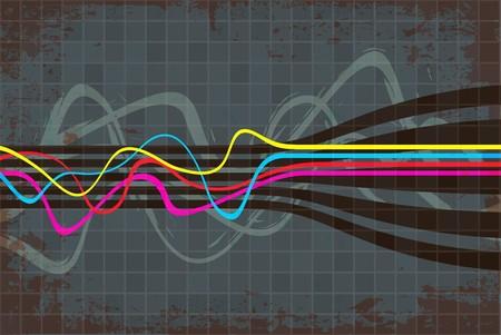Abstracte oogst indeling zoeken met golvende lijnen.  Stockfoto