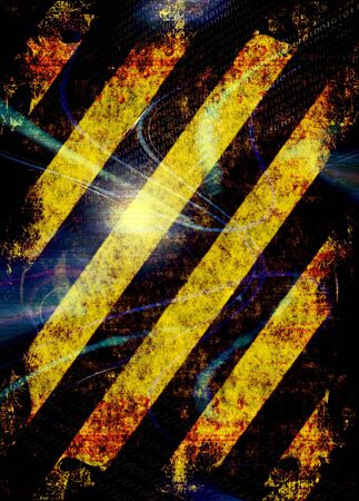A hazard stripes texture with extreme grunge effects. Stock Photo - 4476391