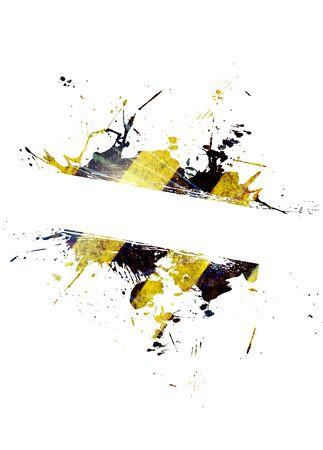hazard stripes: A hazard stripes paint splatter frame in black and yellow.
