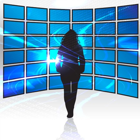 lcd tv: A silhouette of a woman standing in front of a wall of tv screens.