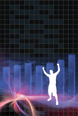 World business illustration with plenty of copyspace.  A silhouette of a man is raising his arms up in the air in victory. illustration