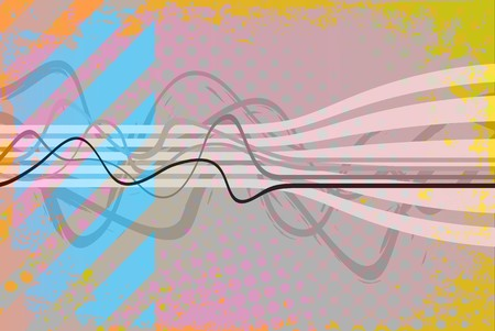 Abstract vintage looking layout with wavy lines and hazard stripes. photo