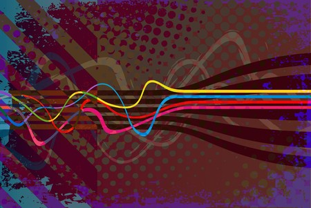 Abstract vintage looking layout with wavy lines. photo
