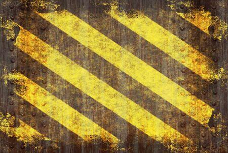 hazard stripes: A hazard stripes texture with extreme grunge effects. Stock Photo