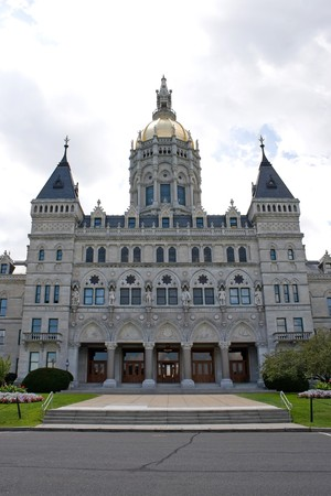 senate: Front view of the golden-domed capitol building in Hartford Connecticut. Stock Photo