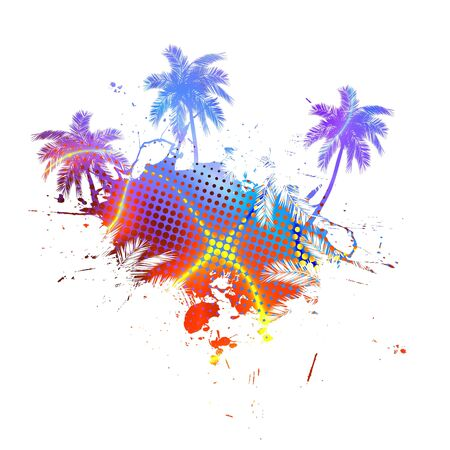 Grungy tropical palm tree graphic with lots of splatter. photo