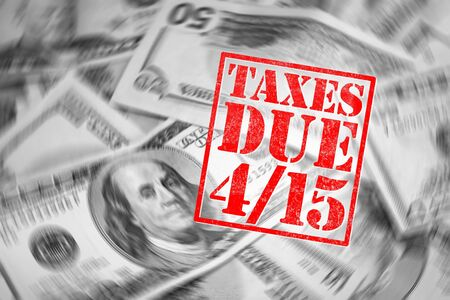 taxpayers: A tax time themed montage for US taxpayers warning about the due date of April 15