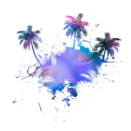 beach sunset: Grungy tropical palm tree graphic with lots of splatter. Stock Photo