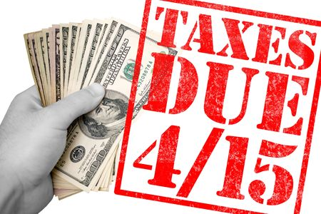 A tax time themed montage for US taxpayers warning about the due date of April 15 photo