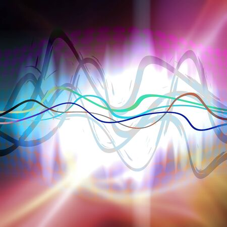 equaliser: An audio waveform over an abstract background.  Stock Photo