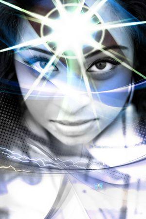 psychisch: Een abstracte montage van een mooie vrouw met een starburst uit haar voorhoofd.