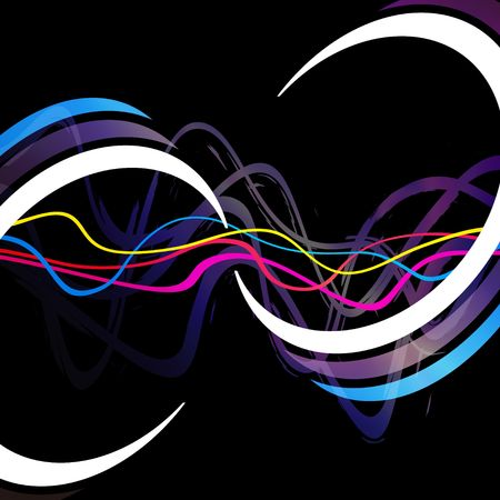 Abstract layout with wavy lines and circular rings in the form of an infinity symbol.
