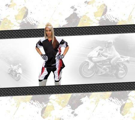 Young woman wearing a motorcycle racing suit in a layout with copyspace. photo