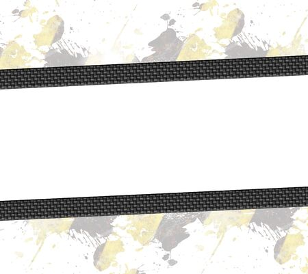 automotive industry: A hazard stripes paint splatter frame in black and yellow.with carbon fiber accents.