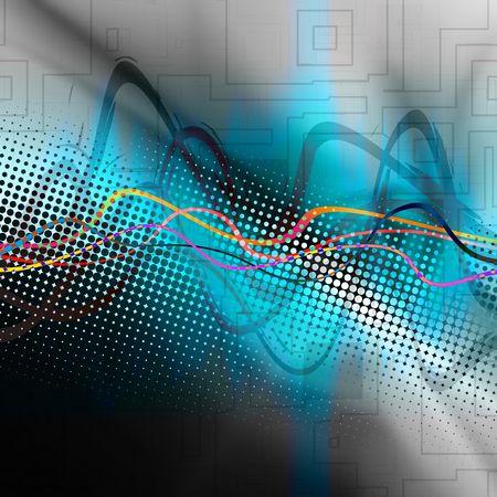 Een audio golfvorm over een abstracte achtergrond. Stockfoto