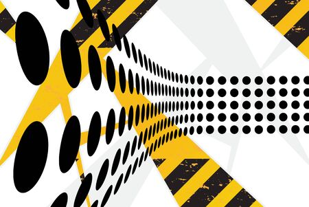 hazard: A background texture with hazard stripes and black dots arranged with perspective. Stock Photo