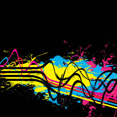 Abstract layout with wavy lines in a cmyk color scheme.  This vector image is fully editable. Stock Vector - 4728829