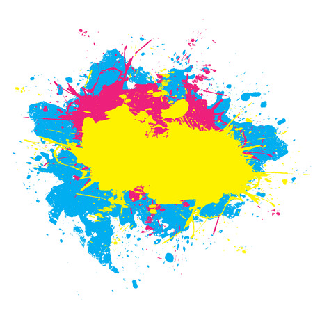 Abstract paint splatter elements in a cmyk color scheme. This vector element is fully editable.
