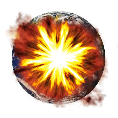 catastrophic: An illustration of the earth exploding from an asteroid or other nuclear weapon. Stock Photo
