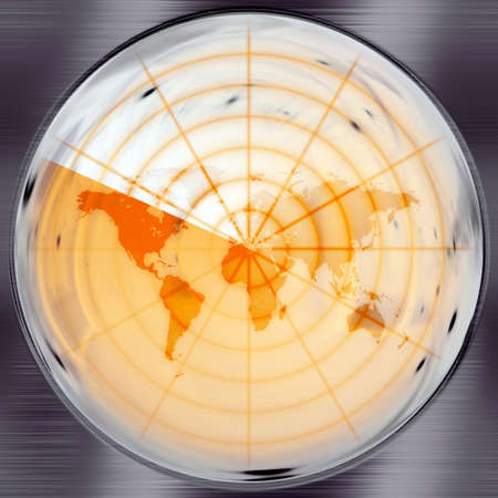 The world map in a radar screen - blips can be added easily anywhere they are needed. Stock Photo - 4764606