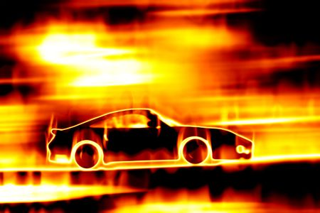 flaming: Abstract illustration of a sports car speeding through a burning fire. Stock Photo