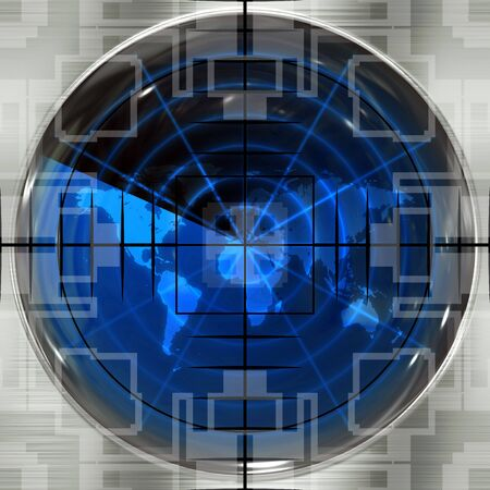 The world map in a radar screen with sniper crosshairs.  Blips can be added easily anywhere they are needed. photo