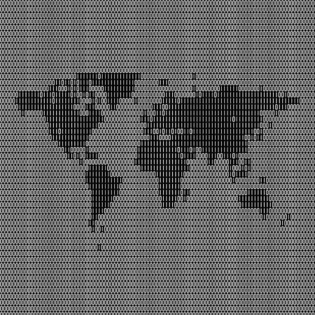 Digital world map montage made up of binary symbols and digits. Stock Photo - 4808037