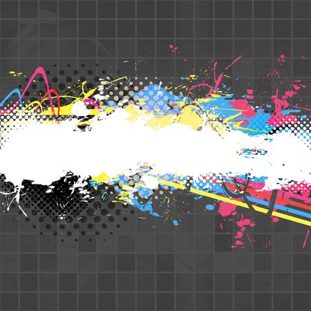 An abstract paint splatter background texture with lots of copy space.