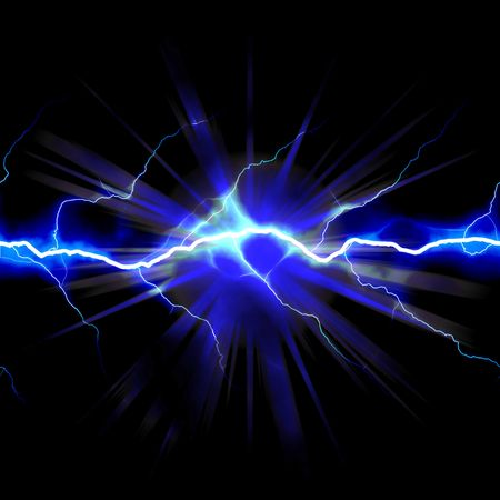 elektriciteit: Bright gloeiende bliksem of elektriciteit gloeiende met een ster borstbeeld afvangen accent.