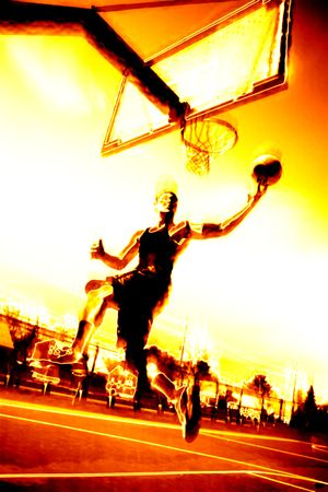 baller: Abstract illustration of a basketball player in flames. Stock Photo