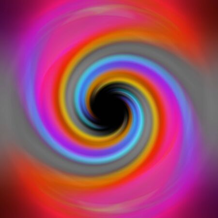 A spiraling rainbow vortex background with a black hole in the center. Stock Photo