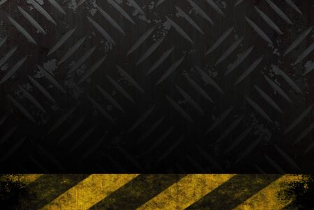 diamond plate: Grungy diamond plate background texture with a yellow and black hazard stripes accent edge.