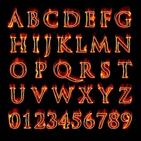 fire alphabet: A set of fiery flaming letters and numbers isolated over black.