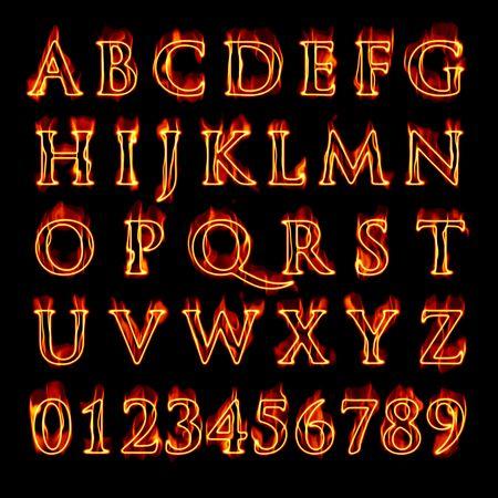 Een set van vurige vlammen letters en cijfers over geïsoleerde zwart.